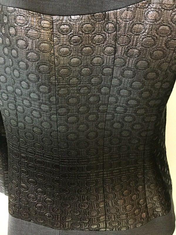 Teri Jon Ombre Metallic Skirt Suit Close Up Back View
