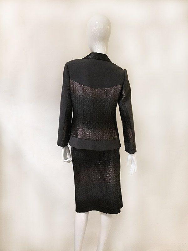 Teri Jon Ombre Metallic Skirt Suit Back View