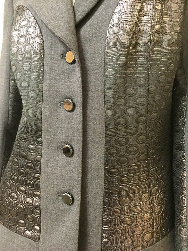 Teri Jon Ombre Metallic Skirt Suit Front Close Up View