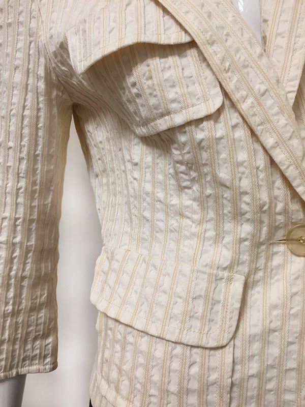 Lida Baday Notched Collar Jacket Fabric Close Up View