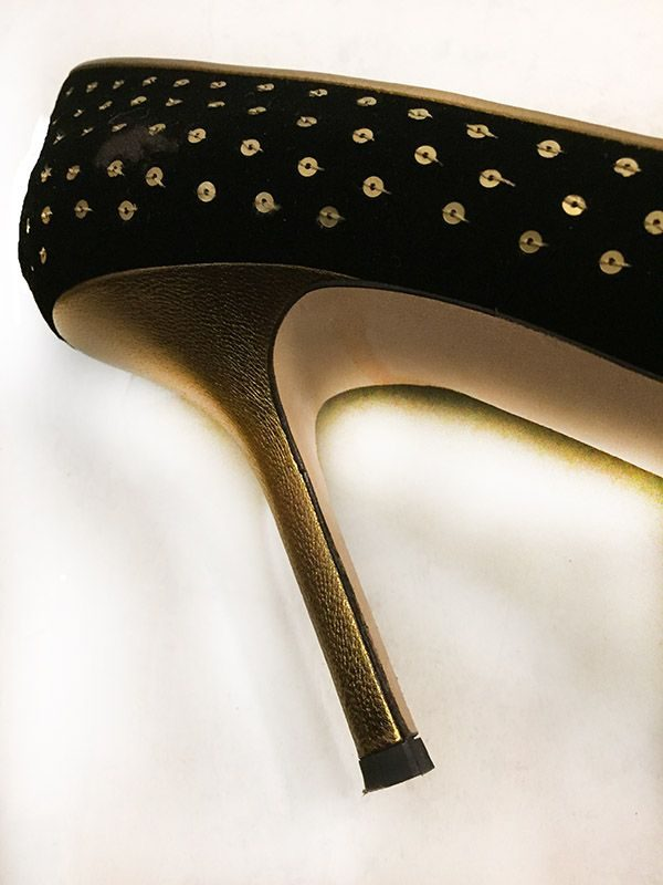 Vera Wang Sequined Velvet Pumps Heel Close Up View 2