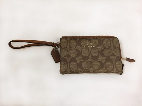 Coach Signature Double Zip Wristlet Front View