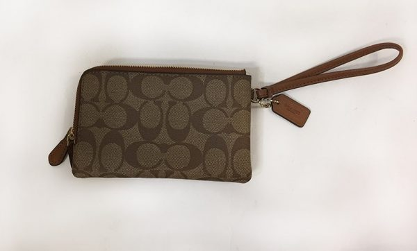 Coach Signature Double Zip Wristlet Back View