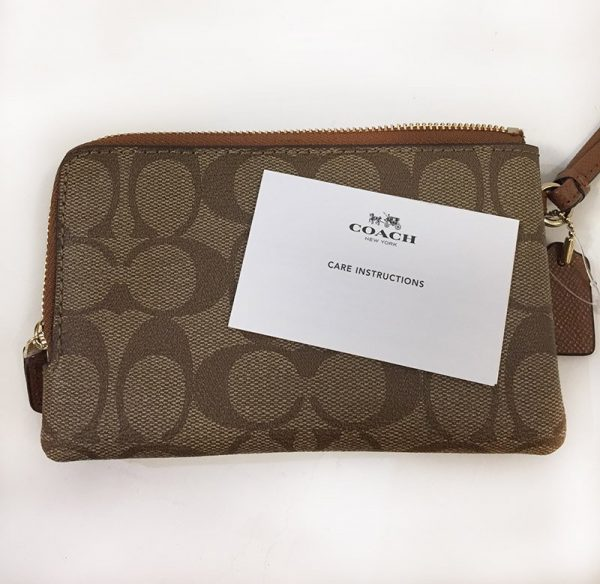 Coach Signature Double Zip Wristlet Card View