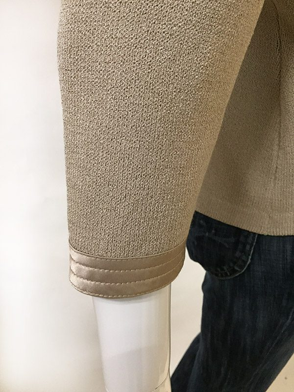 St. John Zip Front Sweater Sleeve Close Up View