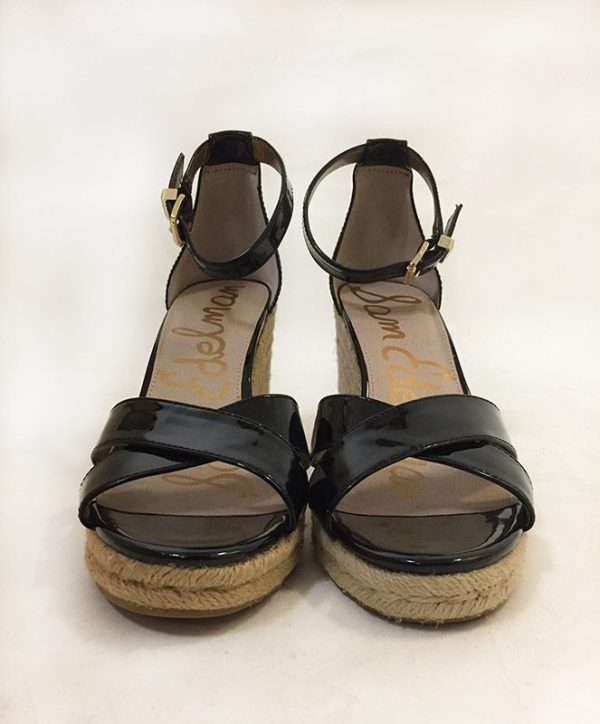 Sam Edelman Patent Leather Wedge Sandal Front View