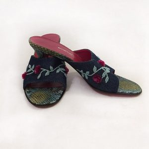 Emanuel Ungaro Beaded Denim Slides Preview View