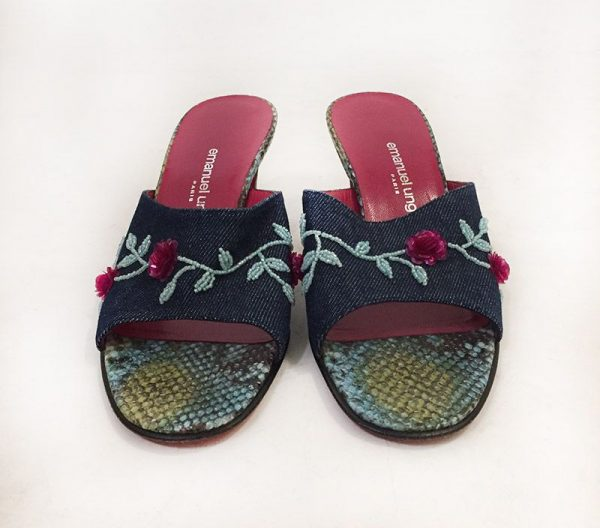 Emanuel Ungaro Beaded Denim Slides Front View