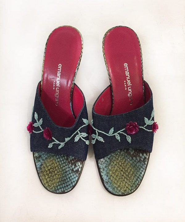 Emanuel Ungaro Beaded Denim Slides Top View