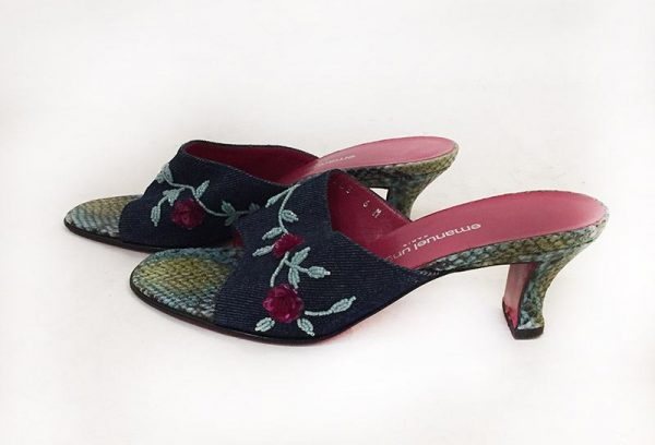 Emanuel Ungaro Beaded Denim Slides Side View