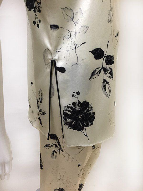 Natori Asian Inspired Pajama Set Side Slit Close Up View