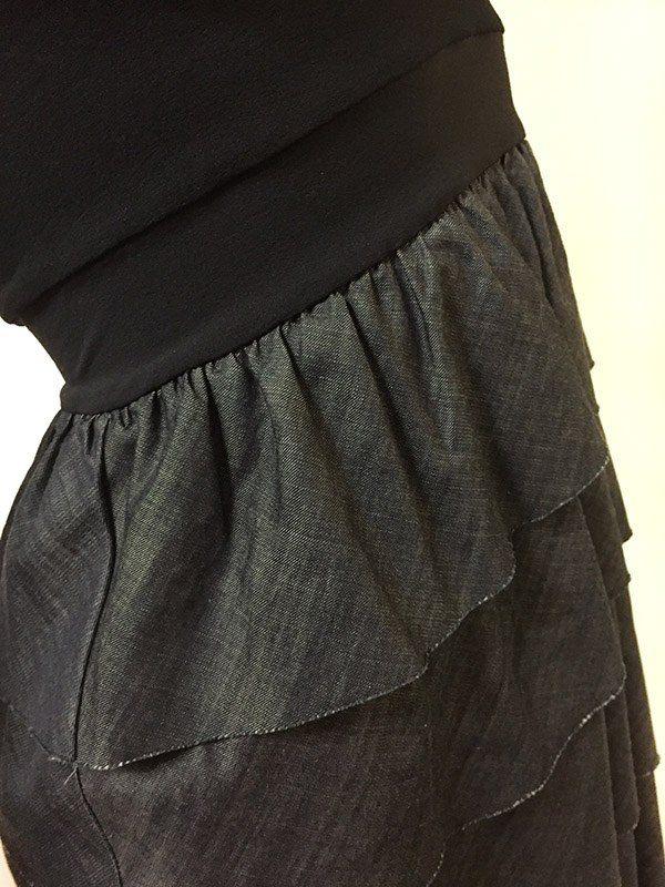 Theory Sleeveless Dress Chambray Close Up View
