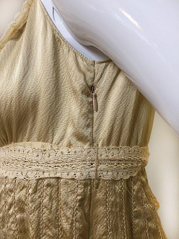 Elie Tahari Gold Top Close Up Zipper View