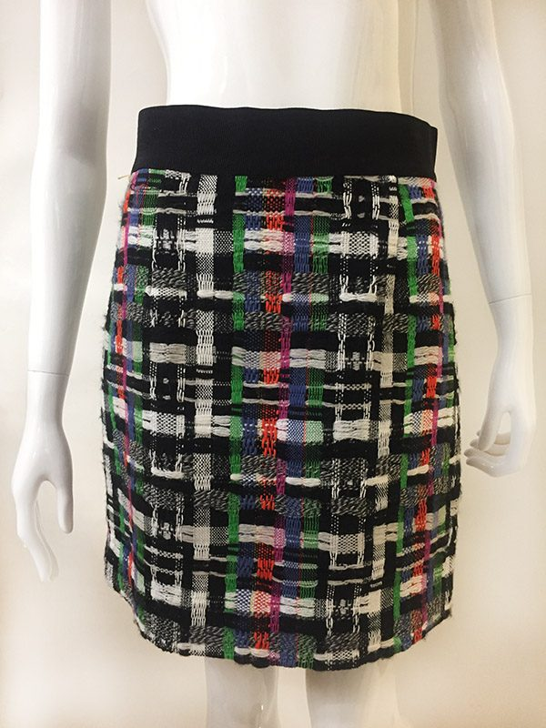 Milly Tweed Back Zip Skirt Front View