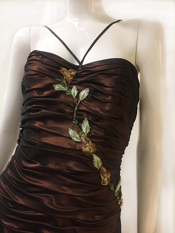 Pesavento Couture Brown Gown Front Close Up View