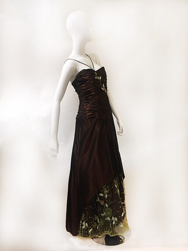 Pesavento Couture Brown Gown Side View 2