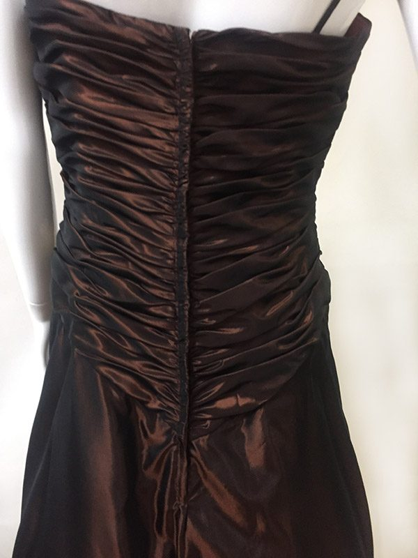 Pesavento Couture Brown Gown Back Ruching View
