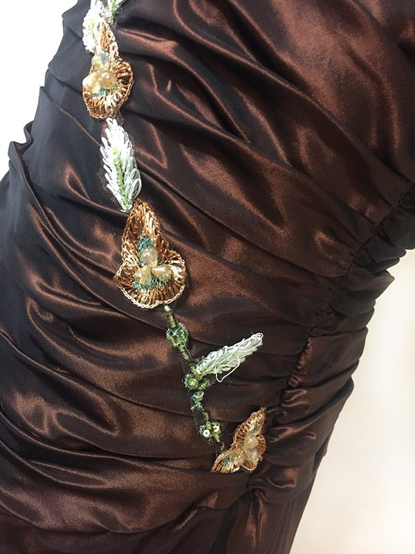 Pesavento Couture Brown Gown Close Up Front Details View