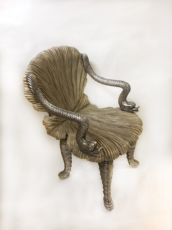 Carved Wood Grotto Chair Side View