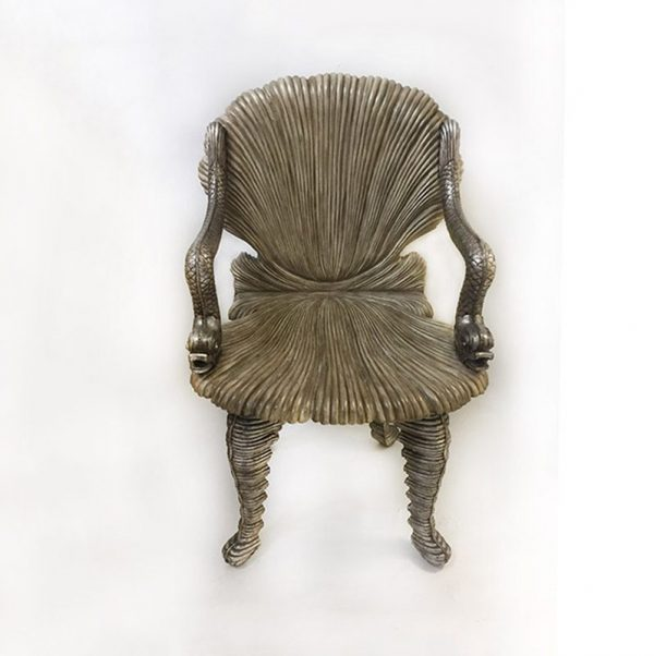 Carved Wood Grotto Chair Front View
