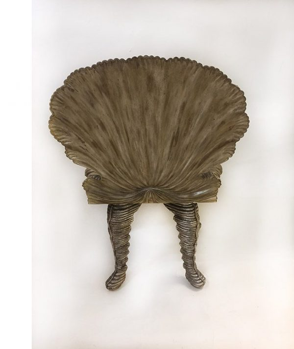 Carved Wood Grotto Chair Back View