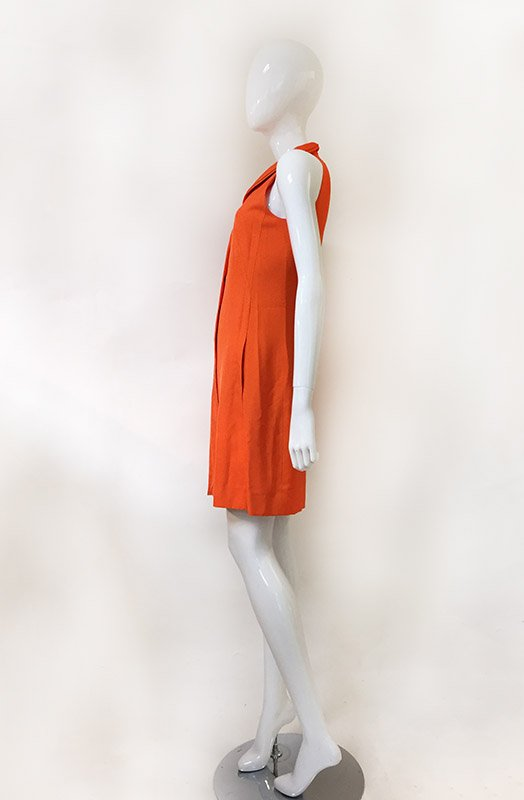 Akris Orange Sleeveless Dress Side View 2