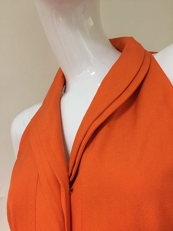 Akris Orange Sleeveless Dress Collar Close Up View