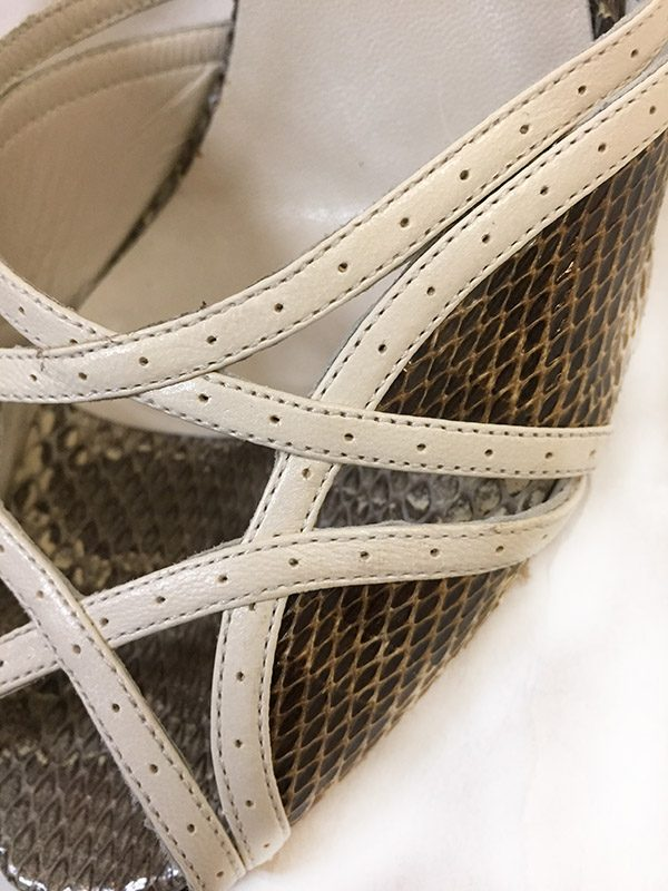 Gucci Snakeskin Peep Toe Sandals Close Up View