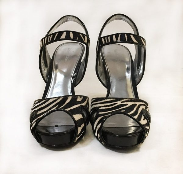 Calvin Klein Calf Hair Zebra Sandals Front View