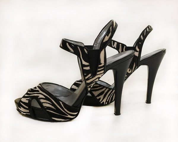 Calvin Klein Calf Hair Zebra Sandals Side View