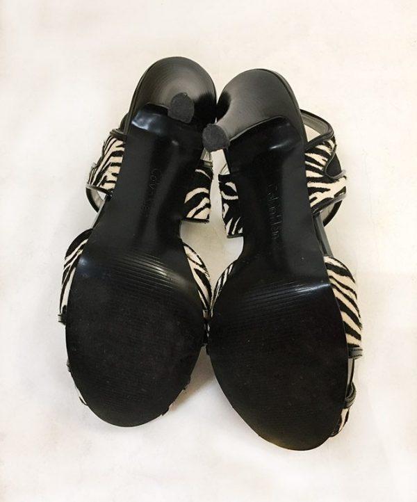 Calvin Klein Calf Hair Zebra Sandals Bottom View