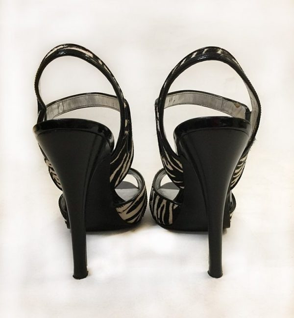 Calvin Klein Calf Hair Zebra Sandals Back View