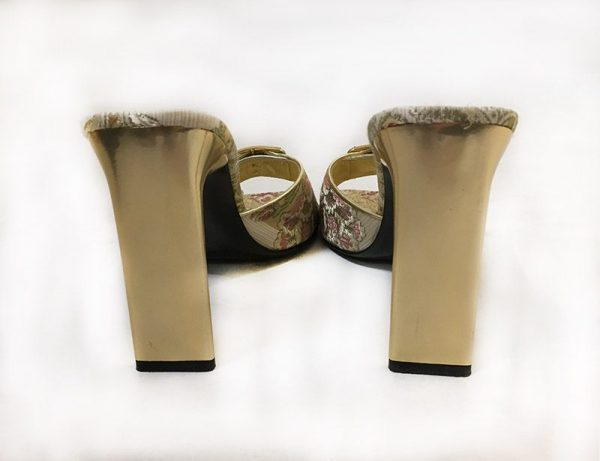 Casadei Brocaded High Heel Slides Back View
