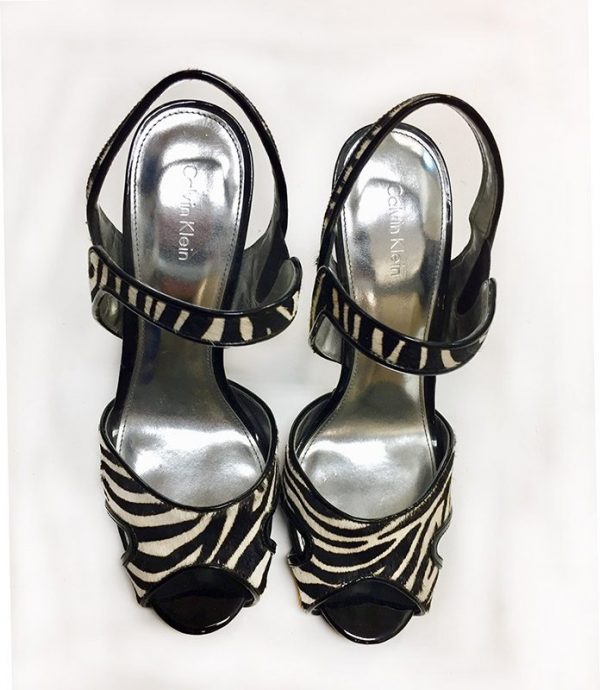 Calvin Klein Calf Hair Zebra Sandals Top View