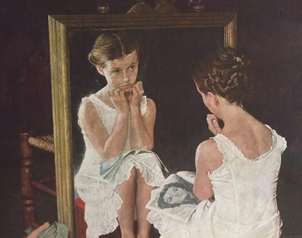 "Norman Rockwell ""Girl In The Mirror"" Close Up View"
