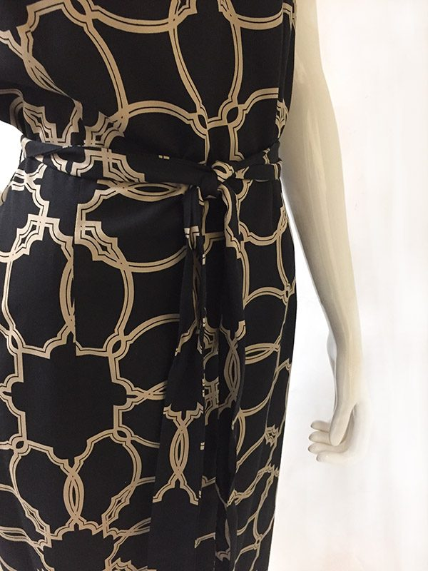 Talbots Cowl Neck Dress Fabric/Belt Close Up View