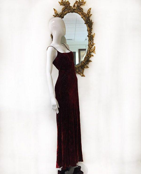 Carmen Marc Valvo Velvet Burnout Gown Preview View