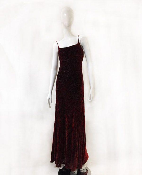 Carmen Marc Valvo Velvet Burnout Gown Front View