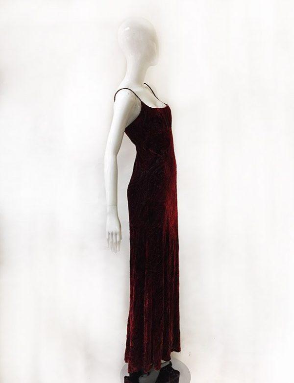 Carmen Marc Valvo Velvet Burnout Gown Side View 2