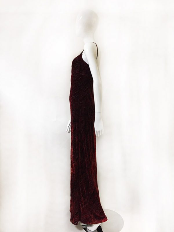 Carmen Marc Valvo Velvet Burnout Gown Side View