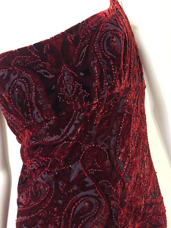 Carmen Marc Valvo Velvet Burnout Gown Bodice Close Up View