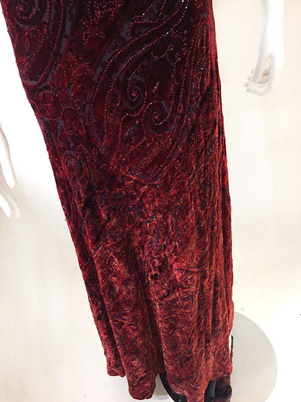 Carmen Marc Valvo Velvet Burnout Gown Fabric Close Up View 2