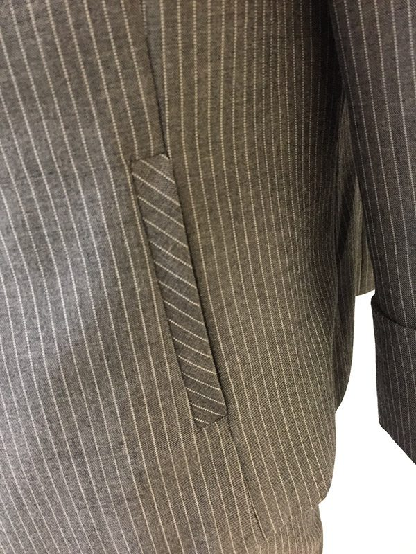 Tahari Pinstripe Pantsuit Close Up Hip Pocket View