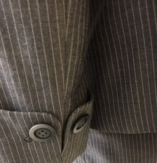 Tahari Pinstripe Pantsuit Close Up Cuff View