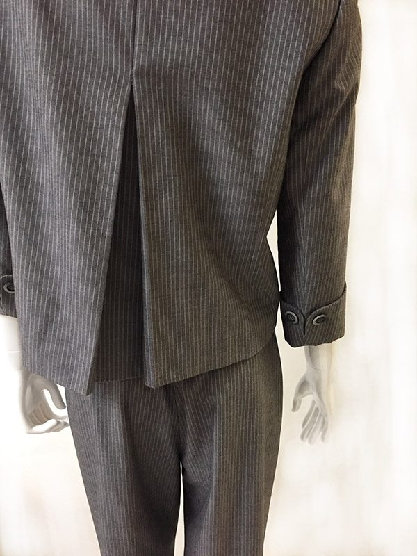 Tahari Pinstripe Pantsuit Close Up Back View