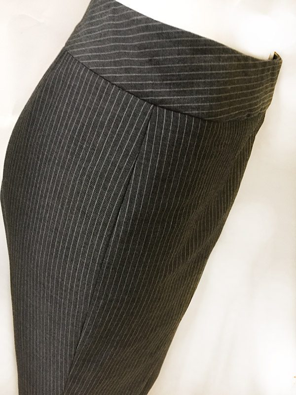 Tahari Pinstripe Pantsuit Close Up Waist Band View