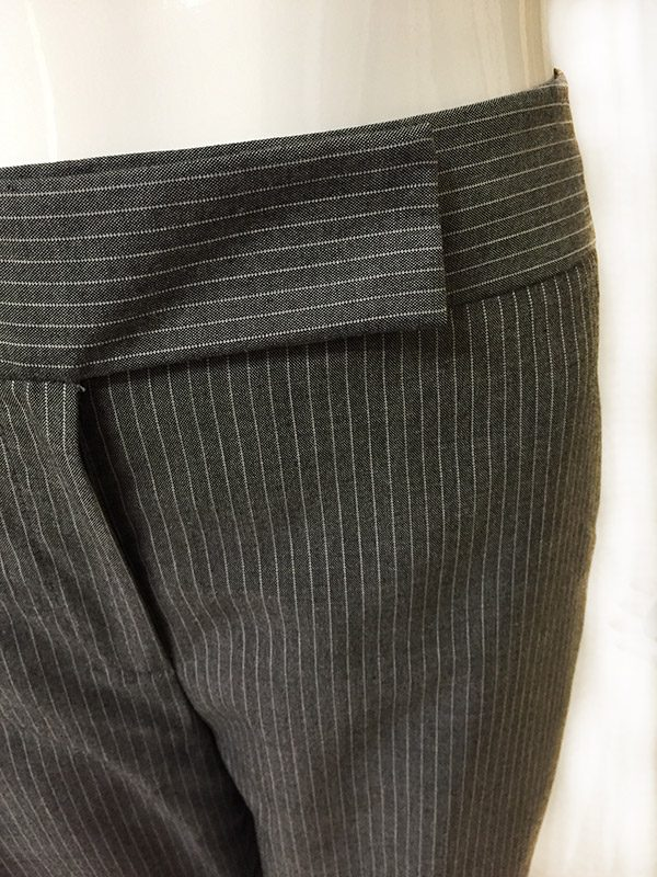 Tahari Pinstripe Pantsuit Close Up Waist Band View 2