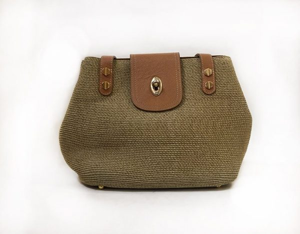 Eric Javits Tan Woven Purse Front View