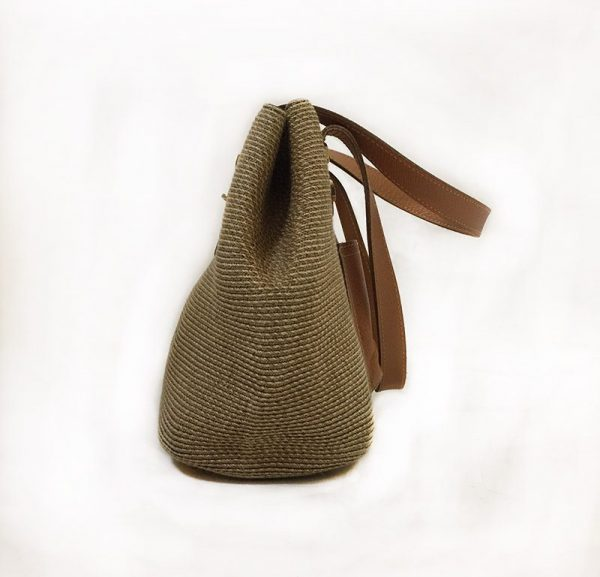 Eric Javits Tan Woven Purse Side View