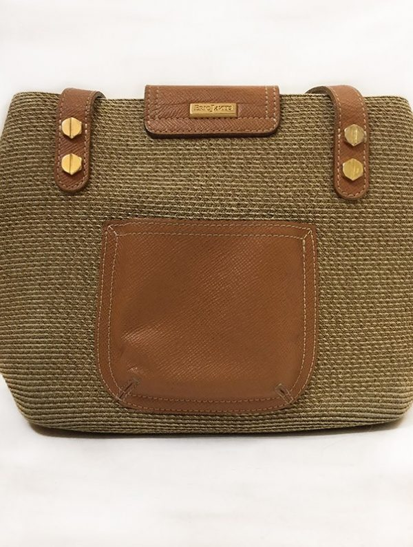 Eric Javits Tan Woven Purse Back View